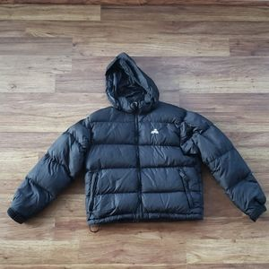 EMS Small Goose Down Black Puffer Jacket Hooded